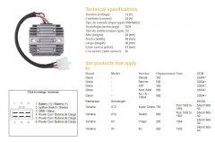 Регулятор зарядки DZE 2080-01 для GILERA DAKOTA, NORDWEST, RC, SATURNO, XRT; YAMAHA RD, SR, SRX, XTZ 660 1992-1993, XTZ 750 1993-1994