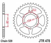 JTR478-46 - звезда задняя KAWASAKI ER6F/N (06-17), KLE 650 (8) замена для JTR1478.46