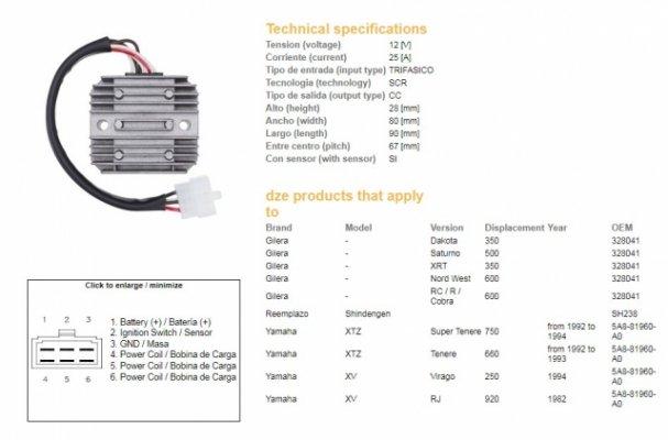 Регулятор напряжения DZE 2080-01 YAMAHA XTZ660 92-93, XTZ750 93-94 (2J2-81960-A0, 2J2-81960-A1)